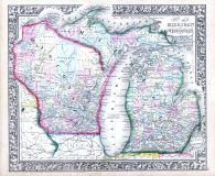 Michigan and Wisconsin, World Atlas 1864 Mitchells New General Atlas